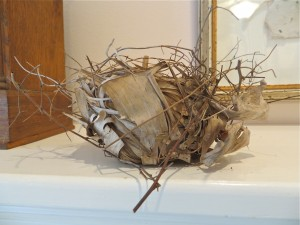 Wren's nest on mantel